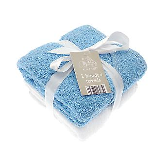 Elli & Raff 2 Pack Hooded Baby Towels, Blue and White