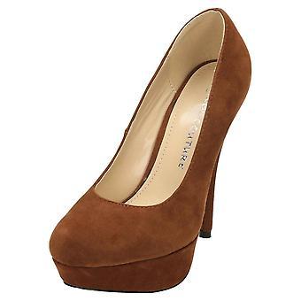 Koi Footwear Stiletto High Heel Court Shoes Platform Suede