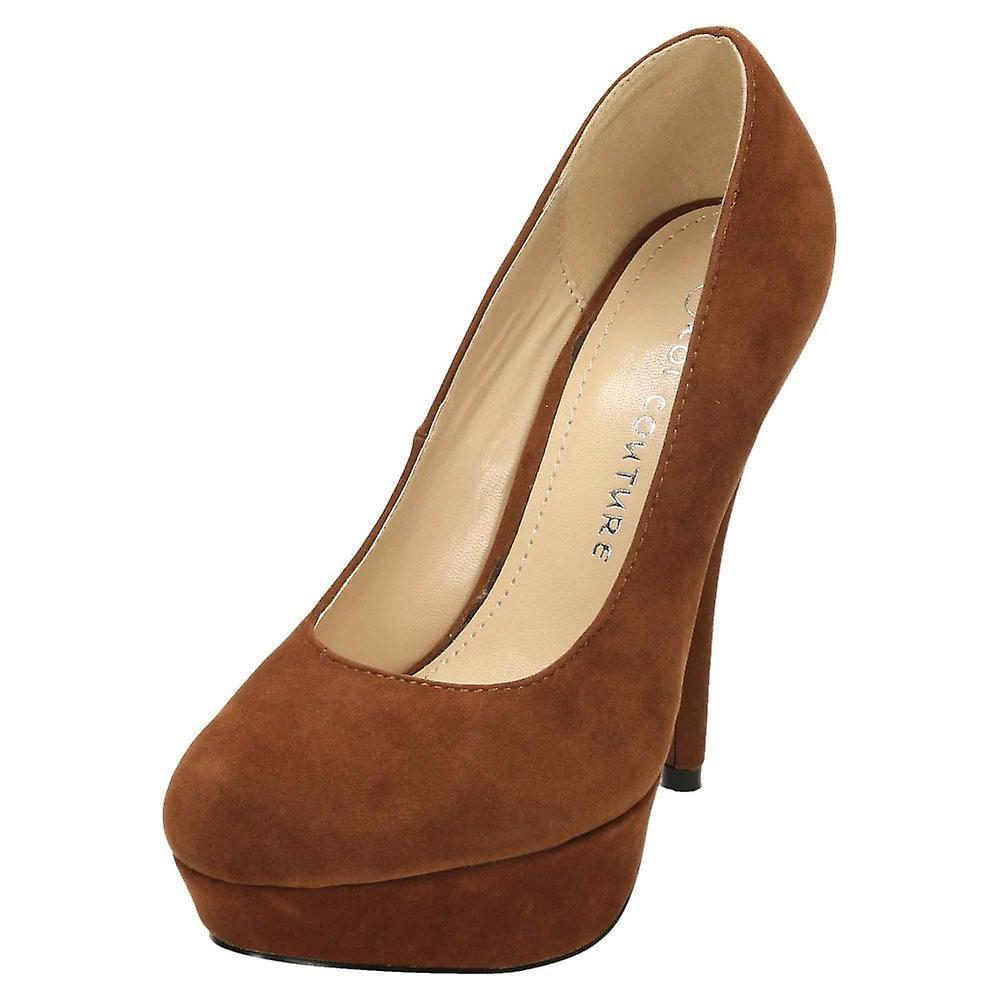 Koi Footwear Stiletto High Heel Court Shoes Platform Suede FMWuP