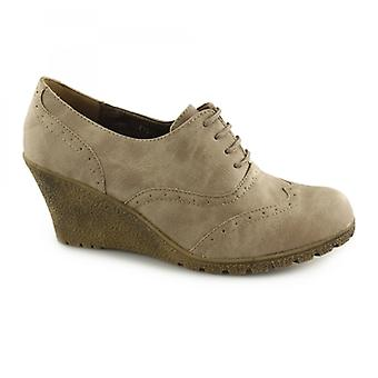 Spot Sur F9505 Femmes Wedge Heel Lace Up Ankle Boots Brown