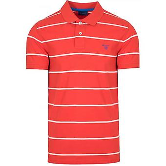 GANT Blod Orange Randig Polo Shirt