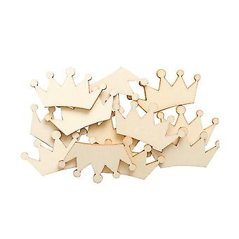 LAST FEW - 12 Wooden 35mm Crown Papercraft Embellishments | Card Making Toppers & Scrapbooking Supplies