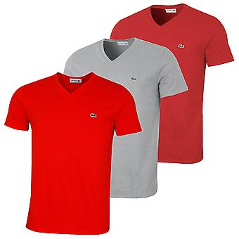 T-shirt Lacoste Mens SS A V-Neck a manica corta Pima Cotton Tee