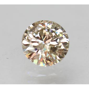 Cert 0.50 Carat Brown Yellow VVS2 Round Brilliant Enhanced Natural Diamond 5.06m