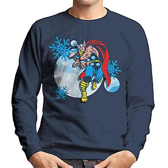 Marvel Christmas Thor Hammer Throw Snowflakes Men's Sweatshirt