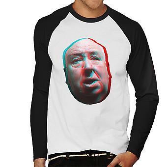 アルフレッド ・ ヒッチコックに直面する 3 D 効果メンズ野球長袖 t シャツ