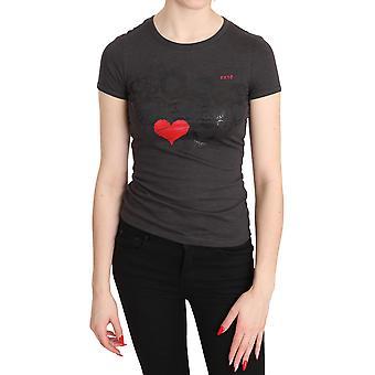 Grijze harten bedrukt ronde hals korte mouwen Top Blouse - TSH3324976