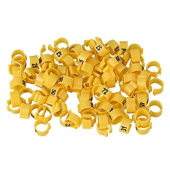 100pcs 9.5mm Plastic Yellow Bird Pigeon Leg Identification Ring w/ Num