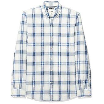 Goodthreads الرجال & apos;s سليم تناسب طويلة الأكمام منقوشة قميص شامبراي, أبيض فاتح أزرق ...