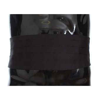 Black mens waist wide belt silk cummerbund
