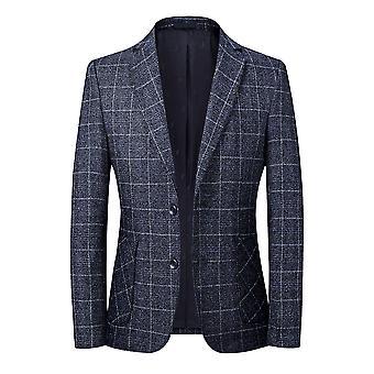 YANGFNA Men's Plaid Two Button Suit Jacket