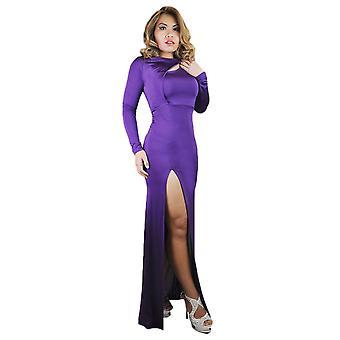 Frauen's Boot Hals ausgeschnitten langärmelige hohe Oberschenkel Schlitz Bodycon Maxi Kleid