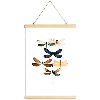 JUNIQE Print - Insect 7 - Dragonflies Poster in Blue & Brown