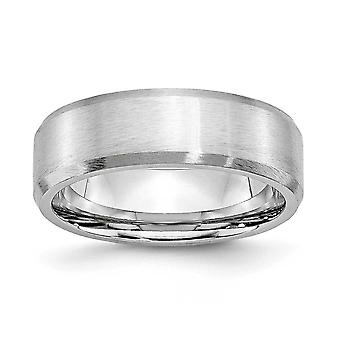 Cobalt Chromium Engravable Beveled Edge All Satin 7mm Band Ring Jewelry Gifts for Women - Ring Size: 7 to 13