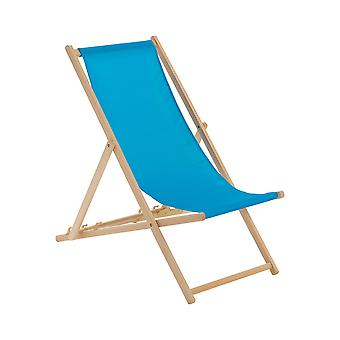 Traditional Adjustable Wooden Beach Garden Deck Chair - Light Blue