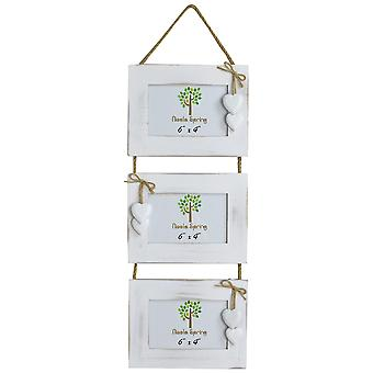 """Nicola Spring Triple White Wooden 3 Photo Accrochage Image Frame With White Hearts - 6 x 4"""" - Pack Of 5"""