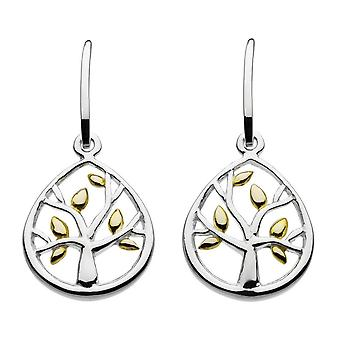 Dew Sterling Silver Leafed Tree With Gold Plate Drop Earrings 68017GD020