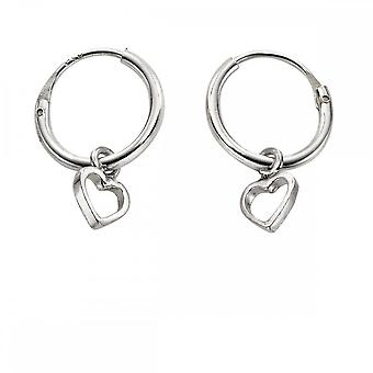 Anfänge Sterling Silber Sleeper Reifen mit offenen Herz Ohrringe H250
