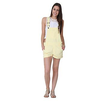 Ladies relaxed fit bib overall shorts - yellow