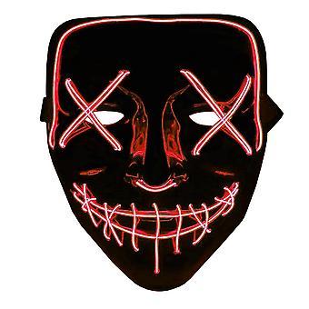 The Purge LED Neon Mask, Halloween - Röd