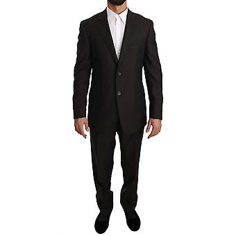 Z ZEGNA Brown Solid Two Piece 2 Button Wool Suit