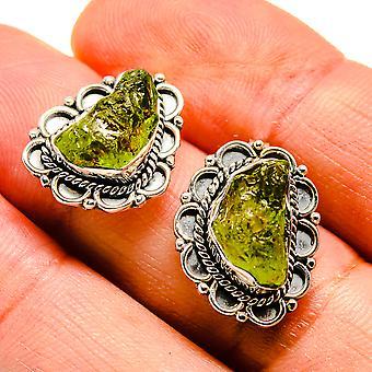 """Rough Peridot Earrings 3/4"""" (925 Sterling Silver)  - Handmade Boho Vintage Jewelry EARR407519"""