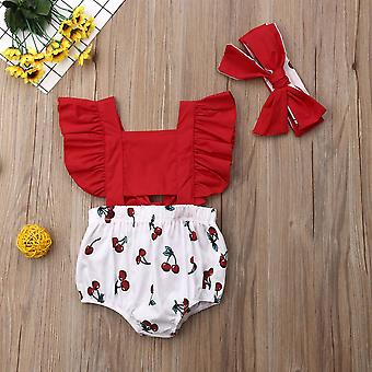 Nouveau-né Baby Girl Ruffle Cherry Print Bodysuits Headband Sunsuit Outfits Été