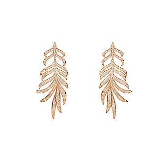 Large Feather Leaf Drop Statement Earring Pink Rose Gold White CZ Bridal Wedding