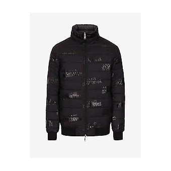 ARMANI EXCHANGE Black Logo All Over Reversible Puffer Jacket