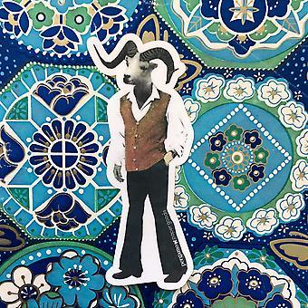 Groovy Schafe Mann Vinyl-Aufkleber