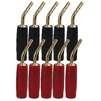 10x Gold-plated Copper Banana Speaker Cable Wire Pin Plugs Connectors