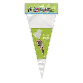 Fiesta única 61997 - grandes bolsas de celofán cono transparente, paquete de 25 bolsas de celofán transparente