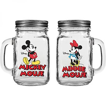 Disney Mickey and Minnie Mouse Salt & Pepper Shaker Jars