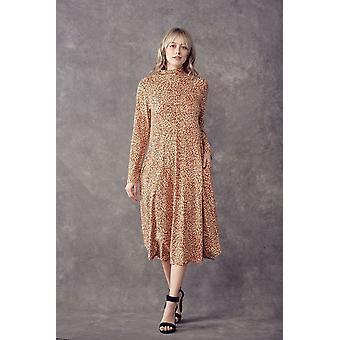 Print Midi A-line, Loose Fit Mock, Neck-side Pockets Dress