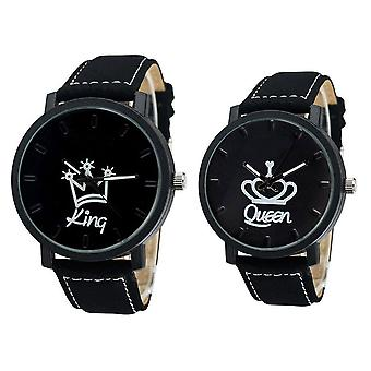 Newest Couple Watch-queen King Crown Fuax Leather Quartz Analog Wrist Watches