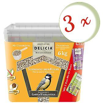 Sparset: 3 x FRUNOL DELICIA® Delicia® Sunflowerseeds, 6 kg