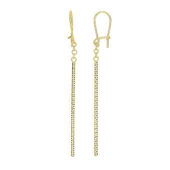 14K Yellow Gold Hanging Bar Drop Earrings