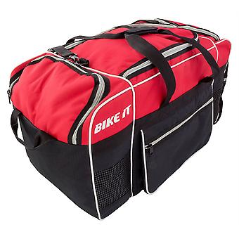 Bike It Luggage Midi Kit Bag Black Red Feature Carry Handle 90 L