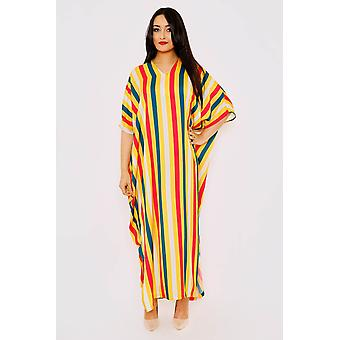 Kaftan taj cropped sleeve stripe loose maxi gandoura dress in print