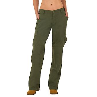 Pantalones de combate de pantalones de combate de algodón de pierna ancha - verde