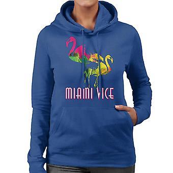 Miami Vice Flamingo Silhouette Women's Hooded Sweatshirt