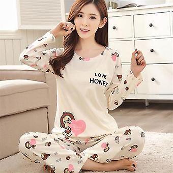 Spring Autumn Carton Long Sleeve Sleepwear Suit For Female