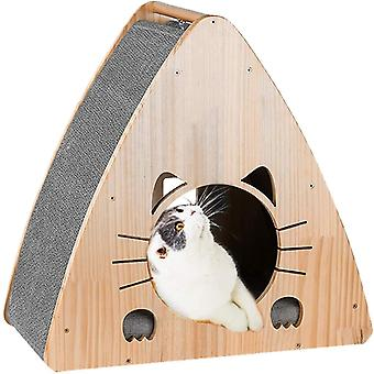JR Knight Cat Bed,Wooden Cat House,Cat Scratching Post,Cat Scratching Pad for Furniture Protection