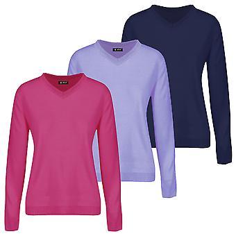Island Green Womens 2021 IGLKNT2046 V Neck Knitted Golf Sweater