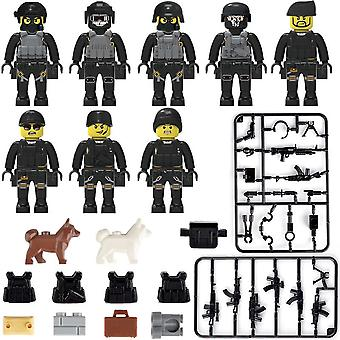 Military Special Forces Soldiers Bricks Figures Guns, Weapons, Armed Swat,