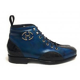 Men's Shoes Harris Polish Leather Blue Cobalt/ Coconut Print Brown Bottom Soccer U17ha129