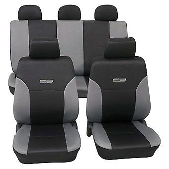 Cubiertas del asiento del coche Wave Grey, lavable a 30 grados, compatible con airbag, resistente (11 piezas)