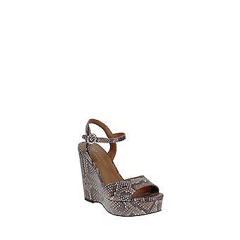 Kurt Geiger   Snake-Embossed Wedge Platform Sandals