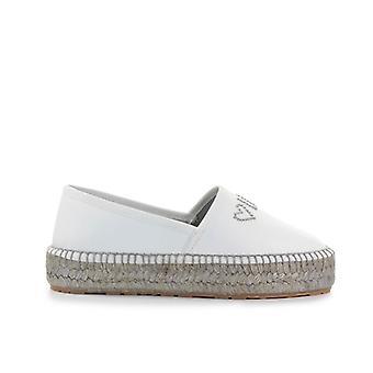 Love Moschino White Nappa Leather Espadrilles