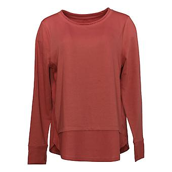 Cuddl Duds Women's Sweatshirt Lightweight Comfort Rib Detail Red A391558